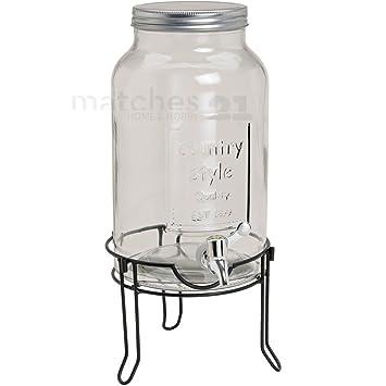 matches21 Bebidas dispensador de cristal con grifo (/Foglia Barril bottich con soporte de metal 21 x 23 x 23 cm/5,5 L): Amazon.es: Hogar