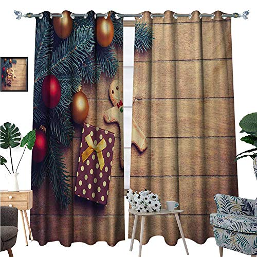 (Gingerbread Man Patterned Drape for Glass Door Pine Branches Delicious Cookie and Present on Wood Planks Waterproof Window Curtain W84 x L108 Pale Brown Hunter Green Red)