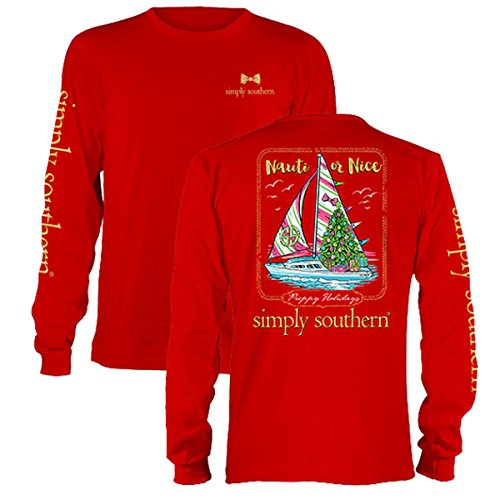 Simply Southern Nauti or Nice Sailboat Youth Long Sleeve Christmas T-Shirt Red