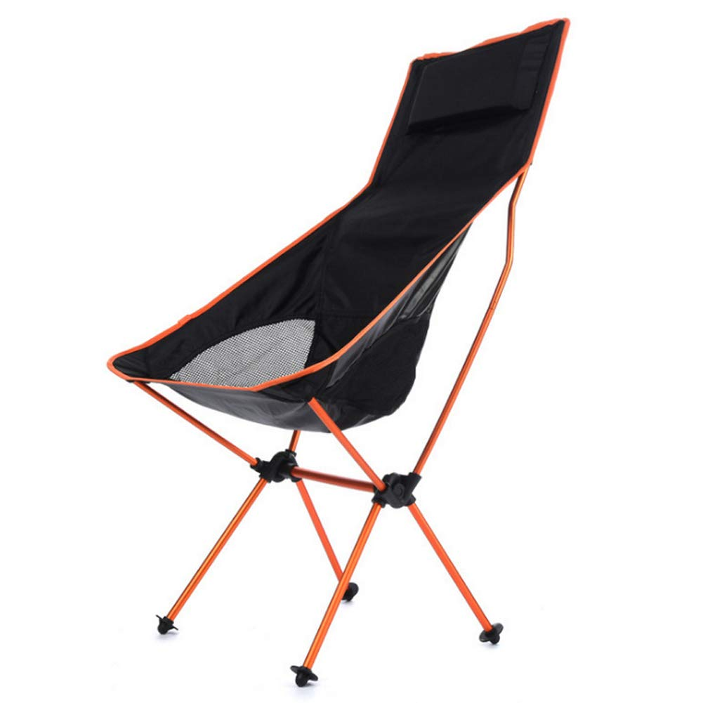 Folding Outdoor Aluminum Alloy with backrest Chair, Long Moon Chair, Portable Fishing Chair, Picnic Picnic Chair-Orange