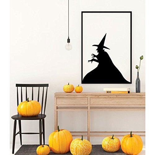 Halloween Decoration -Witch Silhouette Wall Decal - Fall Vinyl Decor for the Home, Office Or Classroom -