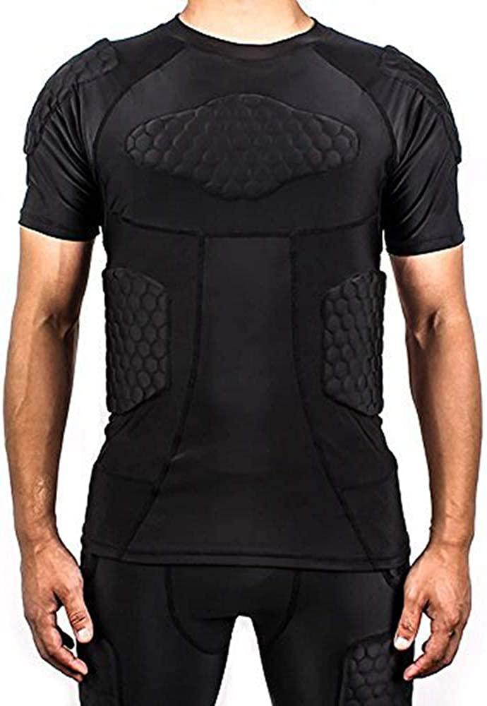 TUOYR Padded Compression Shirt Chest Protector Undershirt for Football Soccer Paintball Shirt: Clothing