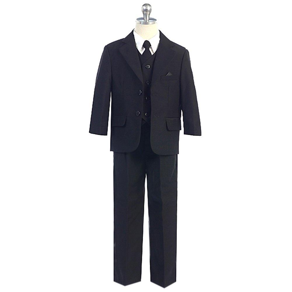 HBDesign Boys3 Piece 2 Button Slim Trim Fit Casual Suite Black