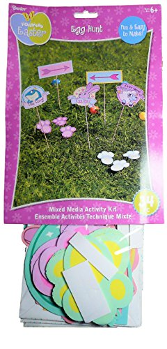 Foamies Easter Egg Hunt Mixed Media Activity Kit 34pc Indoor and Outdoor Use With Cardstock Shapes, Foam Shapes, Foam Stickers, Paper Bags, and Wood Dowel Rods for Egg Hunt.