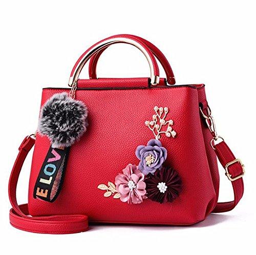 SSMENG Bolso de hombro 2018 Color Flowers Shell Mujeres Tote Pu Bolso de embrague de cuero Bolsos de mujer pequeños Messenger Bags, C E