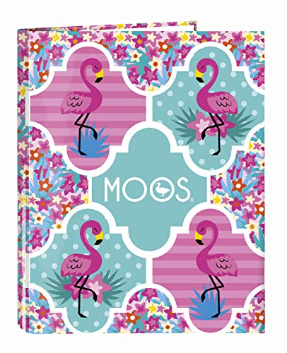 Moos Flamingo Turquoise Official Folder with 4 Rings 265 x 330 mm