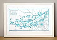 Virgin Islands, Letterpress Map Unframed Print