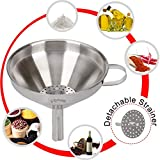 XCOOK Stainless Steel Kitchen Funnel With Detachable Strainer Filter For Transferring Essential Cooking Oil Liquid Fluid Dry Ingredients and Powder 4.9 Inches