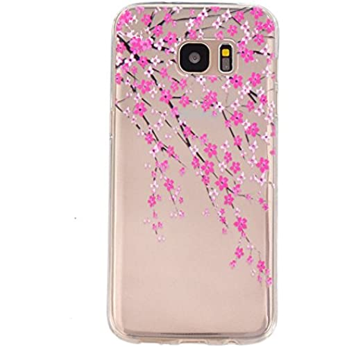 Gravydeals S7 Edge Transparent Soft Case,Ultra Thin [Slim Fit] Lovely Relief Peach Blossom Print Clear TPU Protective Sales