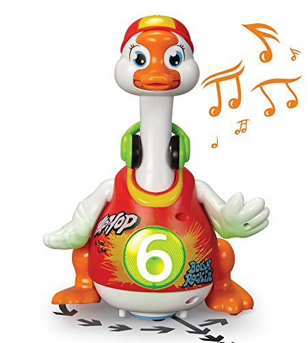 (ToyThrill Singing, Dancing Musical Goose Baby Toy - Flashes Lights, Plays 3 Hip Hop Songs, Glides Across Floor - Stimulating, Fun Game for Toddlers and Babies - Orange)