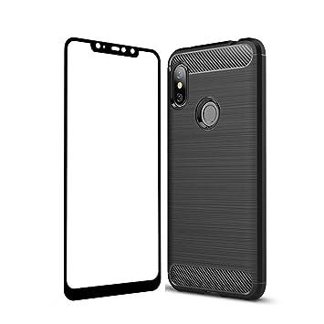 UCMDA Funda Xiaomi Redmi Note 6 Pro, Carcasa Xiaomi Redmi Note 6 Pro con Protector de Pantalla, Fundas Negro Suave TPU para Xiaomi Redmi Note 6 Pro ...