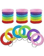30 Pcs Wrist Keychains, Plastic Coil Bracelet Spring Spiral Keychain Wrist Coil Key Chain (6 Colors)