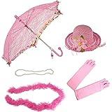 Girls Tea Party Dress Up Set Hat Gloves Parasol Boa Necklace Natalie