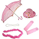 Girls Tea Party Hat Dress Up Set Hat Gloves Parasol Boa Necklace Natalie Pink