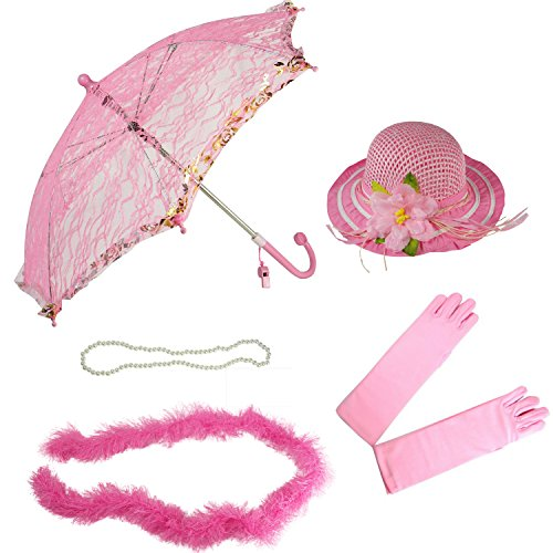 Girls Tea Party Hat Dress Up Set Hat Gloves Parasol Boa Necklace Natalie Pink ()