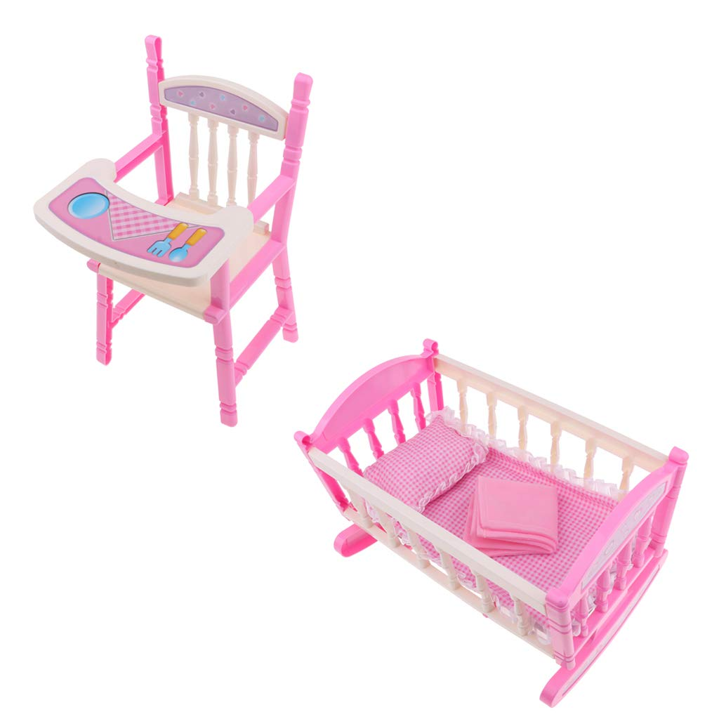 Prettyia 2 Set Folding Baby Dining Chair Cradle Bed Kit Simulation Furniture Toy Reborn Doll MellChan Baby Dolls Kids Children Role Play