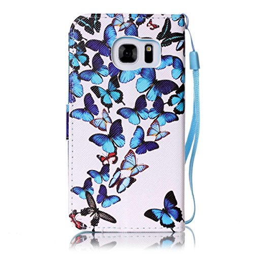 Galaxy S7 Case,Firefish [Kickstand] [Card/Cash Slots] Durable Leather Full Body Protection Wallet Case with Magnetic Closure Wrist Strap for Samsung Galaxy S7-Butterflies