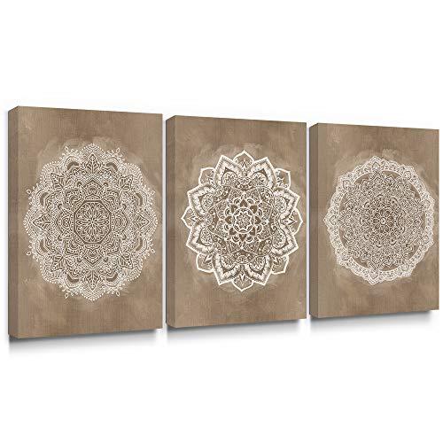 SUMGAR Mandala Mural Wall Art Impresiones en Lienzo Pintura de la Flor India Cuadro Floral de Boho Decoracion de Color cafe cafe para Dormitorio bano Sala de Estar 30x40cmx3 Piezas