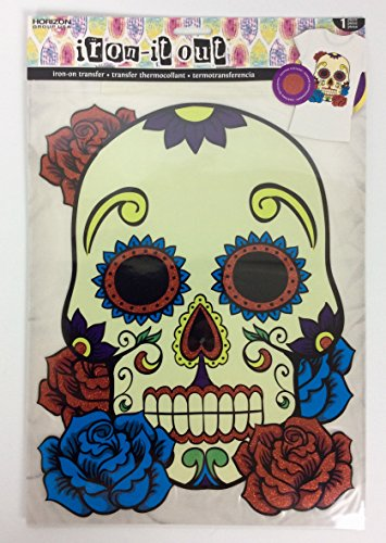 (Iron it Out Sugar Skull Roses Glitter Large Iron-On Transfer Day of Dead Celebration Halloween)