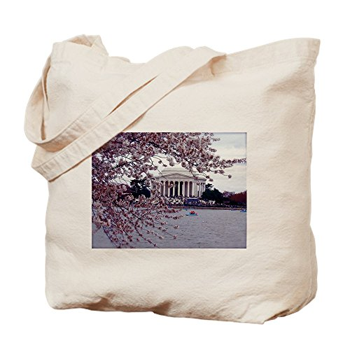CafePress Cherry Blossoms, Washington, DC Natural Canvas Tote Bag, Cloth Shopping Bag