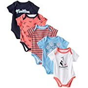 Nautica Baby-Girls Newborn 5 Pack Patterned Bodysuit, Assorted, 0-3 Months