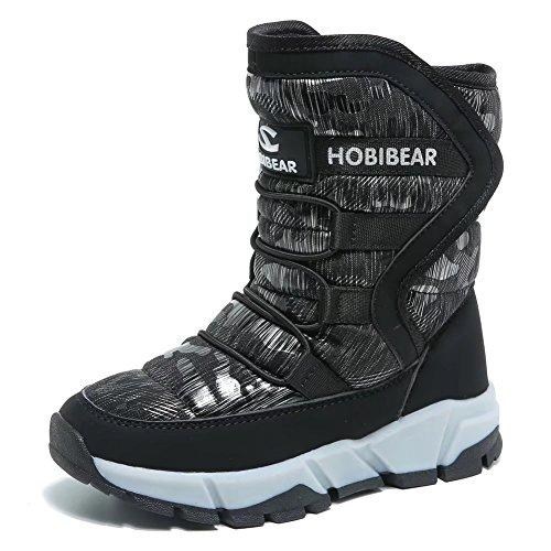 Boys Snow Boots Outdoor Waterproof Winter Kids Shoes by KALUQI(4, Black)