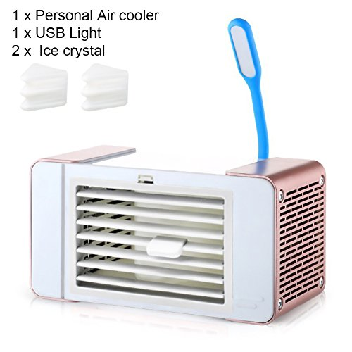 Air Cooler Portable Mini Personal Space Air Conditioner, USB Mini Air Fan Cooler Humidifier Purifier Desktop Cooling Fan with LED Light for Office Home Room Outdoor(Gold) by YOEDAF