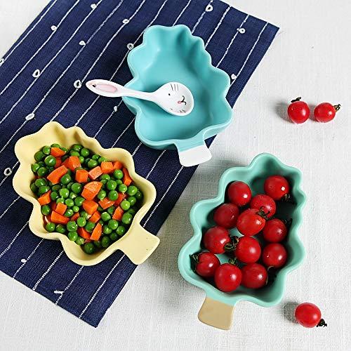 (WXLHBSTM Ceramic Tableware Fruit Snack Bowls Salad Bowl Cartoon Rice Plate Tree Style Plates Creative DinnerWare Sushi Set Dessert catoon)