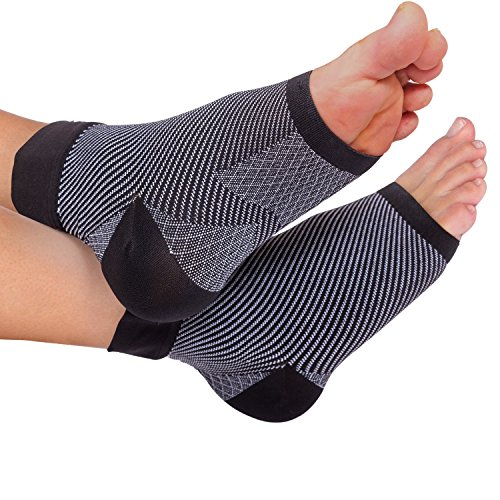 (Plantar Fasciitis Compression sleeves - Better than Night Splint Socks, Shoe, Insoles, Inserts & Orthotics for Foot, Ankle Pain Relief for men, women, nurses, maternity, pregnancy, running & heel spur)