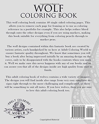 Amazon.com: Wolf Coloring Book: An Adult Coloring Book of Wolves ...