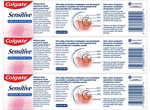 Colgate Sensitive Toothpaste, Complete Protection, Mint – 6 ounce (Pack of 3)