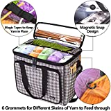 "Teamoy Knitting Bag, Yarn Tote Organizer with Inner Divider (Sewn to Bottom) for Crochet Hooks, Knitting Needles(Up to 14""), Project and Supplies, Gray Dots -No Accessories Included"