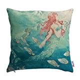 Monkeysell Retro Mermaid Square Linen Pillow Painting Fish Gifts Style Sofa Home Decoration esign Throw Pillow Case Cushion Covers Square 18 Inch (S053A4)