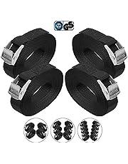 BB Sport Sjorband spanband bevestigingsband met klemgesp - zwart, beschikbaar in verschillende lengtes en hoeveelheden - draagvermogen tot 250 kg DIN EN 12195-2
