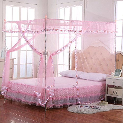 Jqwupup mosquito net for bed 4 corner canopy for beds - King size canopy bed with curtains ...