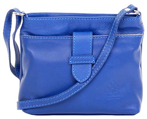 Primo Sacchi ® en cuir italien souple à la main, petite bandoulière à l'avant et bandoulière ou sac à bandoulière ajustable.   Comprend un sac de rangement de marque protectrice.   Bleu royal