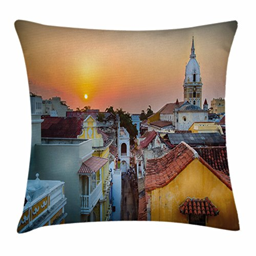Sunset Throw Pillow Cushion Cover by Ambesonne, View over the Rooftops of the Old City Cartagena Cathedral Colombian Coast Picture, Decorative Square Accent Pillow Case, 18 X 18 Inches, - Is The Shop This Cartagena