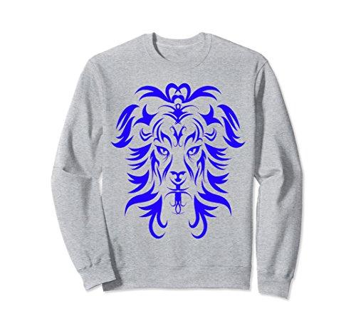 Unisex Blue Lion Head Tattoo Art Sweatshirt XL: Heather (Blue Lion Head)