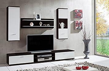 Wohnwand U0027Wowu0027 Dunkelbraun Weiß Wohnzimmerschrank Tv Wand Holzdekor
