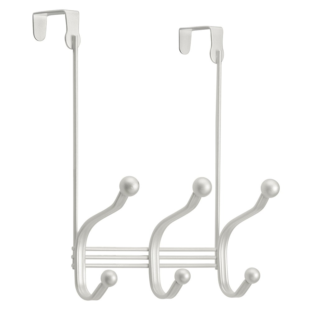 InterDesign York Lyra Over Door Storage Rack - Organizer Hooks for Coats, Hats, Robes, Clothes or Towels – 3 Dual Hooks, Pearl White