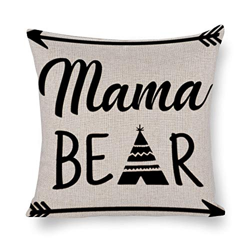 (Welkoom Sofa Pillow Cases Square Pillow Covers 18 X 18 Mama Bear Teepee Clipart Cotton Linen Decorative Cushion)
