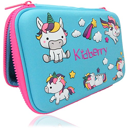 Pencil case for kids, The original brand Kidberry pen case for kids,pencil pouch, girls pencil case, Cute Unicorn 3D Unique design pencil box, comes with a matching Pom Pom key chain in a gift box
