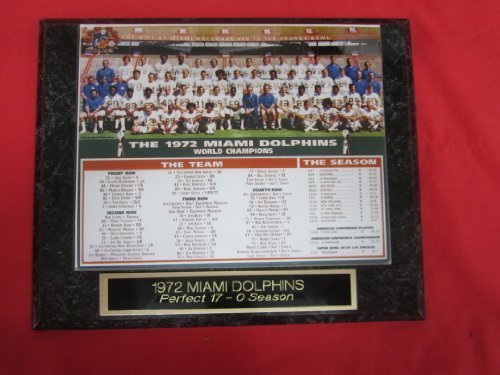 1972 Miami Dolphins Super Bowl Champions Collector Plaque w/8x10 Team - Dolphins 1972