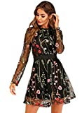 Milumia Women's Floral Embroidery Mesh Sheer Round Neck Tunic Party Dress
