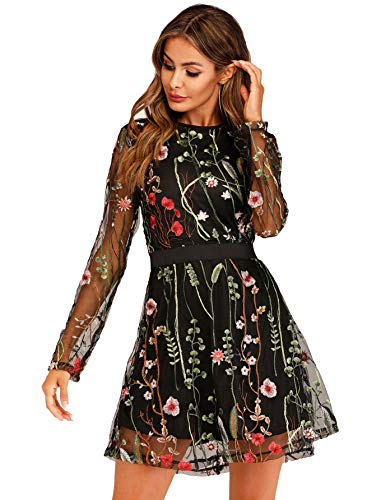 Ladies Halloween Fancy Dress Plus Sizes (Milumia Women's Floral Embroidery Mesh Sheer Round Neck Tunic Party)