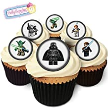 24 Edible Pre-Cut Wafer Round Cake Toppers: 6 Figures inspired by 'Starwars'
