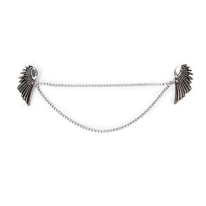 ed7be229b6 Angel Wings Dangle Chain Collar Tip Shirt Stud Brooch with Rhinestones  Silver