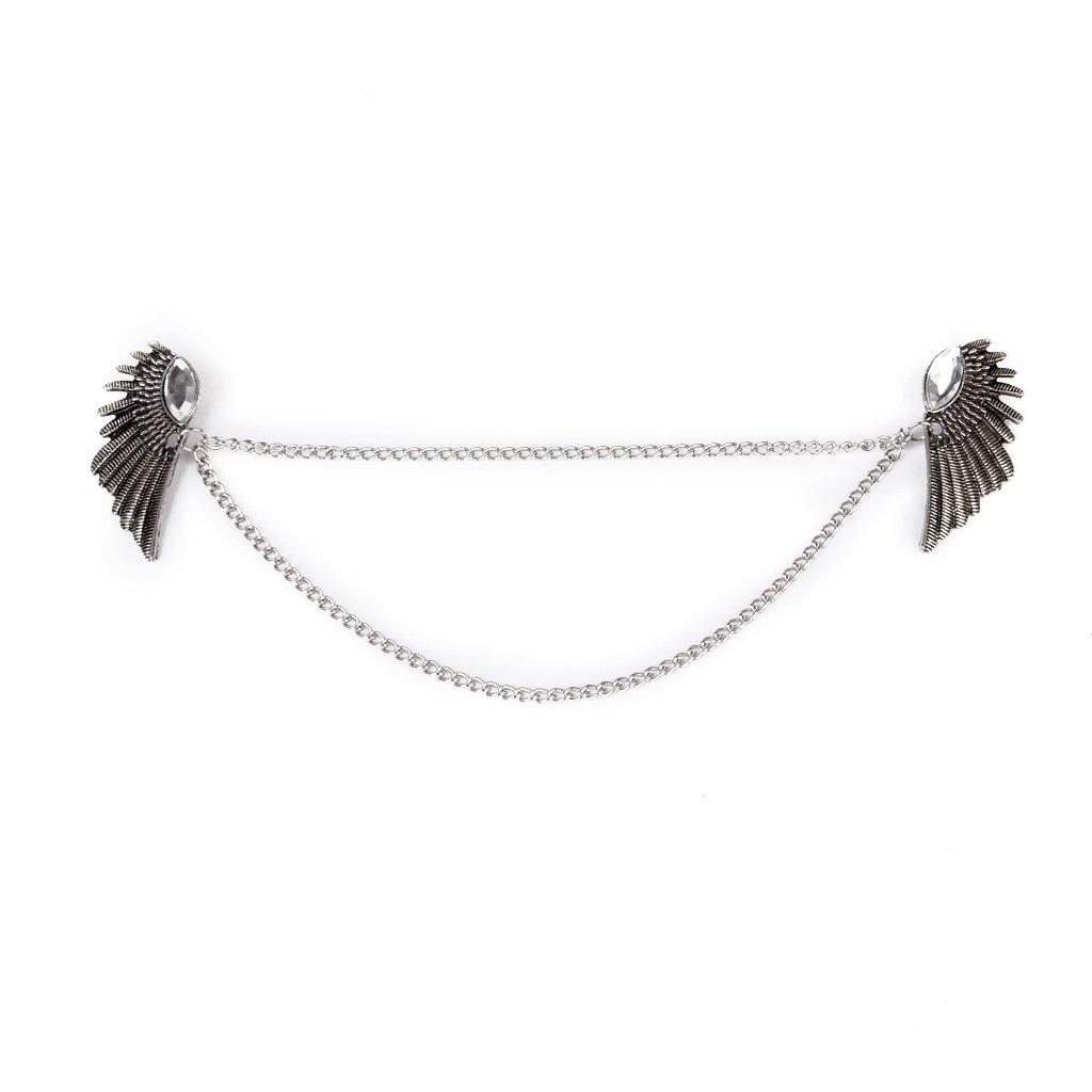 Angel Wings Dangle Chain Collar Tip Shirt Stud Brooch with Rhinestones Silver