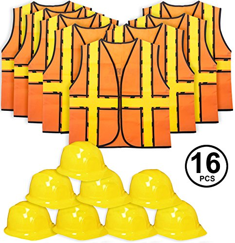 Tigerdoe Kids Party Dress Up - 8 Hats with 8 Vests- Construction Party - Birthday Favors (8 Construction Hats & 8 Construction Vests)]()