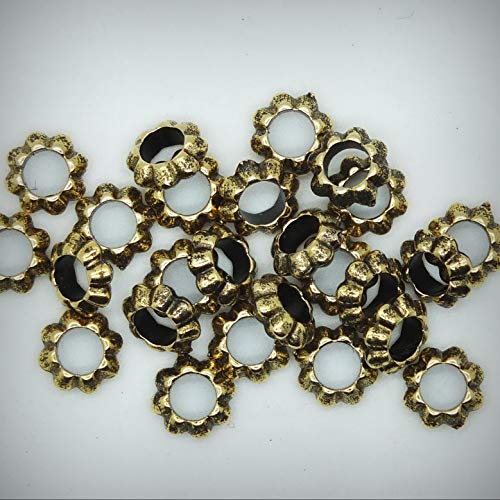 Floral Ring Washer Spacer Jewelry Making Bead 7mm Metalized Large Hole Antiqued Gold Package of 25 - DIY for Handmade Bracelet Necklace \ Craft Supplies